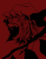 453955 - crazy_eyes fangs flandre_scarlet glowing_eyes hat laughing monochrome red_eyes short_hair spot_color tori_(artist) touhou.gif